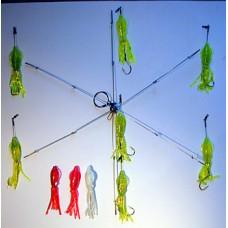 6 Arm Umbrella Rig with 5 inch Squid Bodies & 7/0 Octopus Hooks
