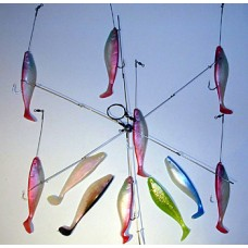 6 Arm Umbrella Rig with 6 inch Shad Bodies & 6/0 Hooks